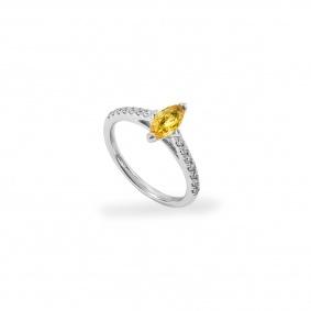 18k White Gold Yellow Sapphire & Diamond Ring 0.57ct
